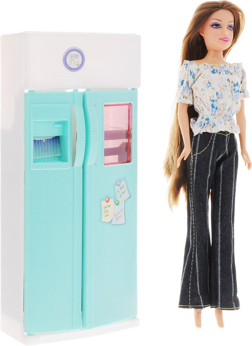 1TOY Холодильник с куклой КрасоткаТ54496Мебель для кукол 1TOY Холодильник - это очень практичный прибор для куклы Красотки, который обязательно понравится вашей малышке. Вместительный холодильник с открывающимися дверями просто незаменим для любой кукольной кухни. Внутри холодильника имеются удобные полочки, где поместятся все любимые продукты вашей куколки. Куколка Красотка имеется в комплекте с холодильником. На куколке светлая кофточка и тёмные джинсовые брюки. У куклы длинные темные волосы, которые так интересно заплетать и укладывать в разнообразные прически. С холодильником очаровательная кукла Красотка никогда не останется голодной! Порадуйте свою дочурку таким замечательным подарком!