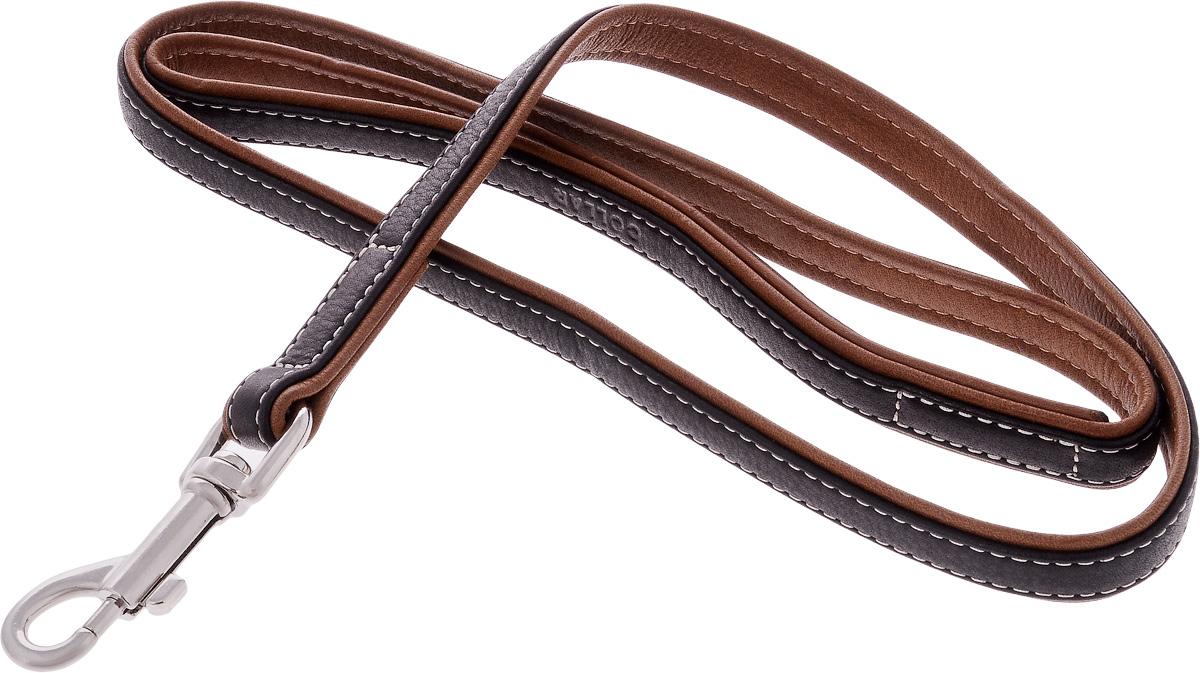 Поводок для собак CoLLaR SOFT, цвет: черный, коричневый, ширина 1,8 см, длина 1,22 м7256Поводок для собак CoLLaR SOFT с черным верхом изготовлен из натуральной кожи и снабжен металлическим карабином. Поводок отличается не только исключительной надежностью и удобством, но и оригинальным дизайном. Он идеально подойдет для активных собак, для прогулок на природе и охоты. Поводок - необходимый аксессуар для собаки. Ведь в опасных ситуациях именно он способен спасти жизнь вашему любимому питомцу. Ширина поводка: 1,8 см. Длина поводка: 1,22 м.