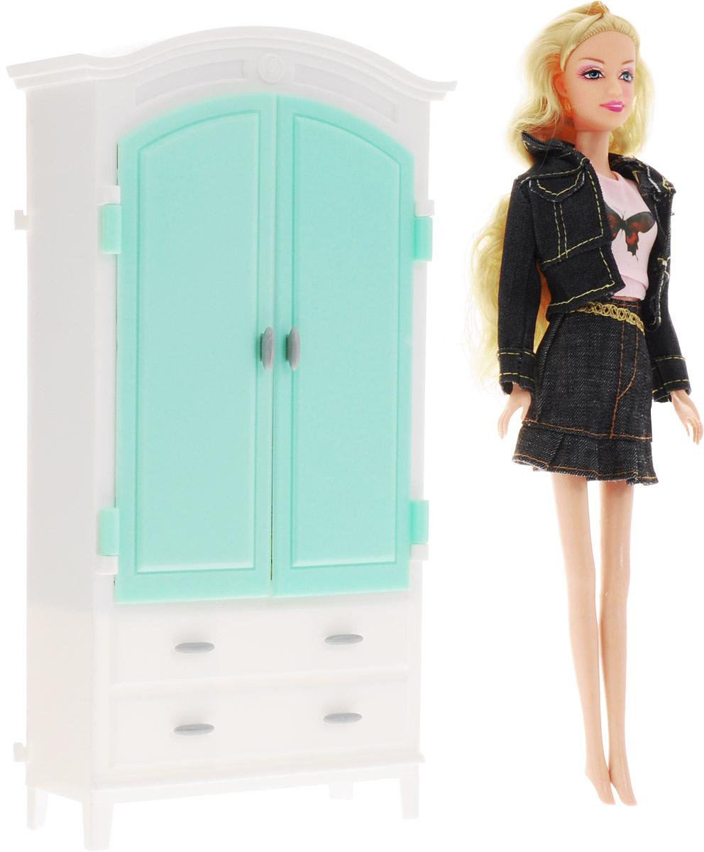 1TOY Гардероб с куклой КрасоткаТ54494Мебель для кукол 1TOY Гардероб - это очень практичный шкаф для куклы Красотки, который обязательно понравится вашей малышке. Если у любимой куколки много одежды, то её нужно аккуратно хранить. Гардероб просто незаменим для маленьких модниц. Двери у гардероба открываются, внутри можно поместить вешалки с одеждой. В наборе с гардеробом имеется и сама Красотка! На куколке розовая маечка и джинсовый костюм с юбкой. У куклы длинные светлые волосы, которые так интересно заплетать и укладывать в разнообразные прически. Очаровательная кукла Красотка - такая модница! Ей будет очень удобно хранить все свои наряды в этом шкафу. Порадуйте свою дочурку таким замечательным подарком!