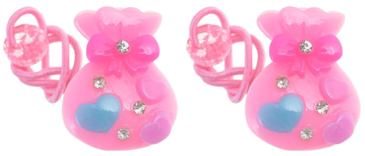 Резинка для волос Fashion House, цвет: розовый, голубой, 2 шт. FH28817FH28817Яркая резинка для волос Fashion House выполнена из текстиля и дополнена крупным пластиковым декоративным элементом в виде подарочного мешка, оформленного стразами.