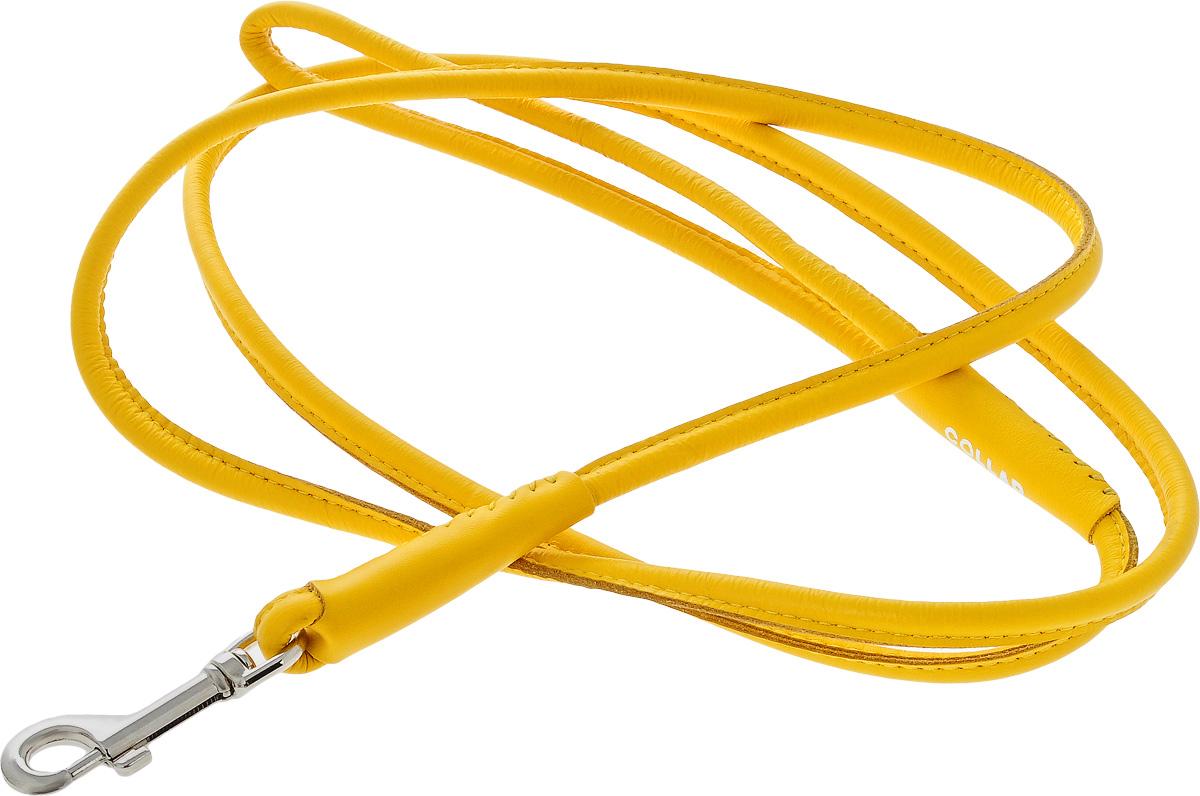 Поводок для собак CoLLaR Glamour, цвет: желтый, диаметр 8 мм, длина 1,83 м34398Поводок для собак CoLLaR Glamour изготовлен из натуральной кожи и снабжен металлическим карабином. Поводок отличается не только исключительной надежностью и удобством, но и ярким дизайном. Он идеально подойдет для активных собак, для прогулок на природе и охоты. Поводок - необходимый аксессуар для собаки. Ведь в опасных ситуациях именно он способен спасти жизнь вашему любимому питомцу. Длина поводка: 1,83 м. Диаметр поводка: 8 мм.