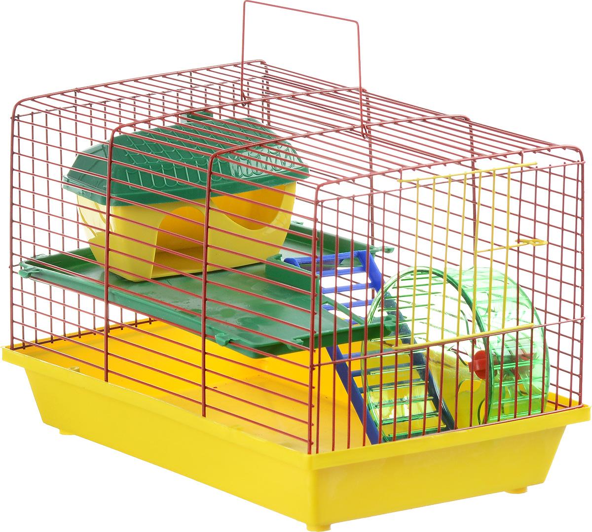 Клетка для грызунов ЗооМарк, 2-этажная, цвет: желтый поддон, красная решетка, зеленый этаж, 36 х 23 х 24 см125_желтый, красный, зеленыйКлетка ЗооМарк, выполненная из полипропилена и металла, подходит для мелких грызунов. Изделие двухэтажное, оборудовано колесом для подвижных игр и пластиковым домиком. Клетка имеет яркий поддон, удобна в использовании и легко чистится. Сверху имеется ручка для переноски, а сбоку удобная дверца. Такая клетка станет уединенным личным пространством и уютным домиком для маленького грызуна.