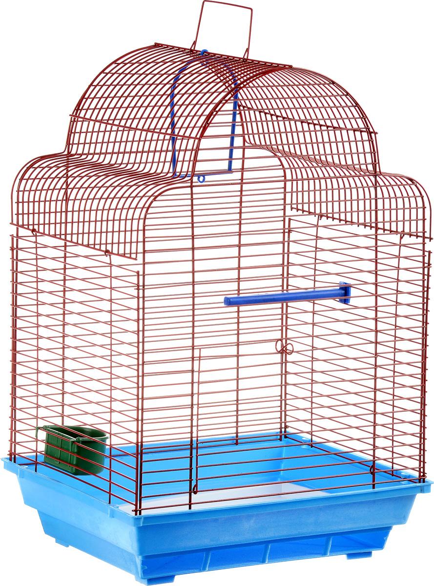 Клетка для птиц ЗооМарк Купола, цвет: голубой поддон, красная решетка, 35 х 29 х 51 см460_голубой, красныйКлетка ЗооМарк Купола, выполненная из полипропилена и металла, предназначена для мелких птиц. Изделие состоит из большого поддона и решетки. Клетка снабжена металлической дверцей. В основании клетки находится малый поддон. Клетка удобна в использовании и легко чистится. Она оснащена жердочкой, кольцом для птицы, кормушкой и подвижной ручкой для удобной переноски. Комплектация: - клетка с поддоном, - малый поддон; - кормушка; - кольцо; - жердочка.