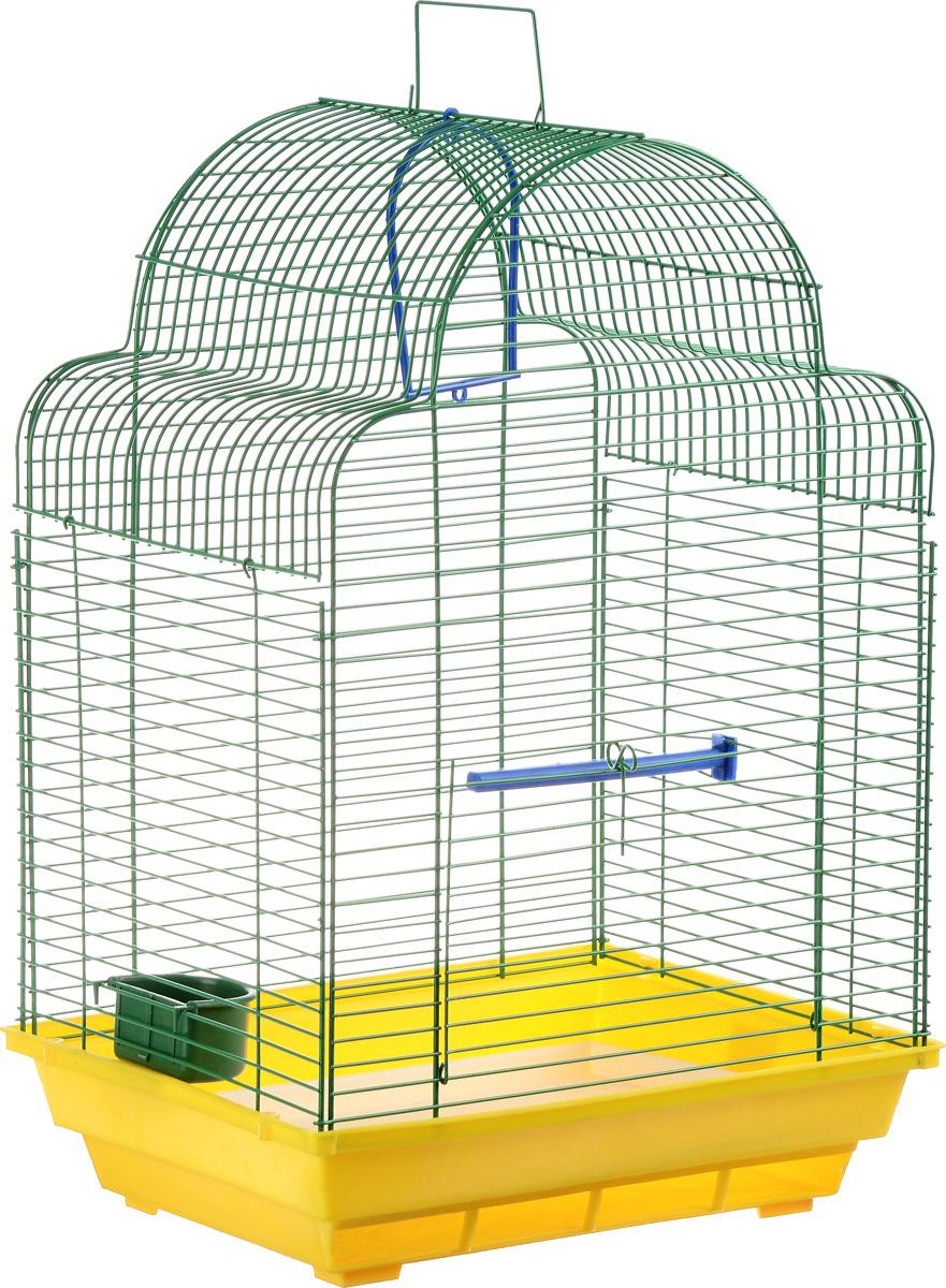 Клетка для птиц ЗооМарк Купола, цвет: желтый поддон, зеленая решетка, 35 х 29 х 51 см460ЖЗКлетка ЗооМарк Купола, выполненная из полипропилена и металла, предназначена для мелких птиц. Изделие состоит из большого поддона и решетки. Клетка снабжена металлической дверцей. В основании клетки находится малый поддон. Клетка удобна в использовании и легко чистится. Она оснащена жердочкой, кольцом для птицы, кормушкой и подвижной ручкой для удобной переноски. Комплектация: - клетка с поддоном, - малый поддон; - кормушка; - кольцо; - жердочка.