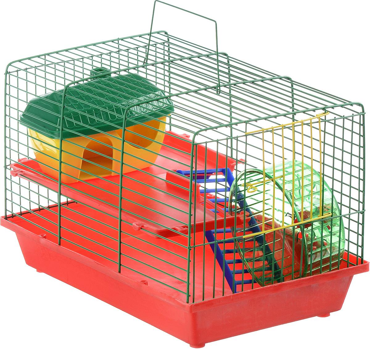 Клетка для грызунов ЗооМарк, 2-этажная, цвет: красный поддон, зеленая решетка, красные этажи, 36 х 23 х 24 см125КЗКлетка ЗооМарк, выполненная из полипропилена и металла, подходит для мелких грызунов. Изделие двухэтажное, оборудовано лестницей, колесом для подвижных игр и пластиковым домиком. Клетка имеет яркий поддон, удобна в использовании и легко чистится. Сверху имеется ручка для переноски. Такая клетка станет уединенным личным пространством и уютным домиком для маленького грызуна.