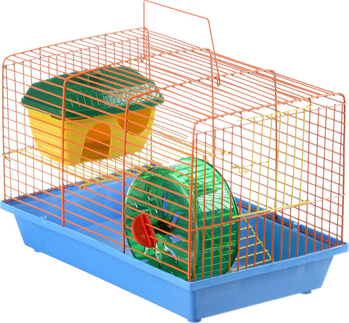 Клетка для грызунов ЗооМарк, 2-этажная, цвет: синий поддон, оранжевая решетка, желтый этаж, 36 х 22 х 24 см. 125ж125жСОКлетка ЗооМарк, выполненная из полипропилена и металла, подходит для мелких грызунов. Изделие двухэтажное, оборудовано колесом для подвижных игр и пластиковым домиком. Клетка имеет яркий поддон, удобна в использовании и легко чистится. Сверху имеется ручка для переноски. Такая клетка станет уединенным личным пространством и уютным домиком для маленького грызуна.