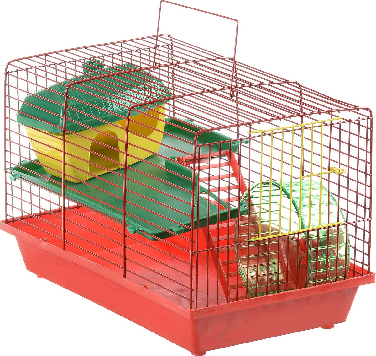 Клетка для грызунов ЗооМарк, 2-этажная, цвет: красный поддон, красная решетка, зеленый этаж, 36 х 23 х 24 см125_красный, зеленыйКлетка ЗооМарк, выполненная из полипропилена и металла, подходит для мелких грызунов. Изделие двухэтажное, оборудовано колесом для подвижных игр и пластиковым домиком. Клетка имеет яркий поддон, удобна в использовании и легко чистится. Сверху имеется ручка для переноски, а сбоку удобная дверца. Такая клетка станет уединенным личным пространством и уютным домиком для маленького грызуна.