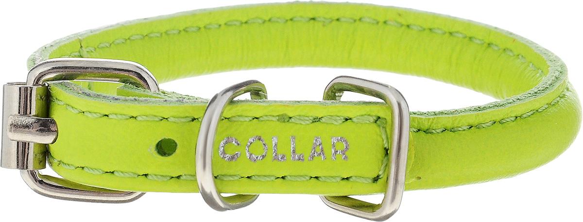 Ошейник для собак CoLLaR Glamour, цвет: зеленый, диаметр 6 мм, обхват шеи 17-20 см22265Ошейник CoLLaR Glamour изготовлен из кожи, устойчивой к влажности и перепадам температур. Клеевой слой, сверхпрочные нити, крепкие металлические элементы делают ошейник надежным и долговечным. Изделие отличается высоким качеством, удобством и универсальностью. Размер ошейника регулируется при помощи металлической пряжки. Имеется металлическое кольцо для крепления поводка. Ваша собака тоже хочет выглядеть стильно! Модный ошейник с уплотнением по всей длине не только не будет натирать шею вашему любимцу, но и станет для питомца отличным украшением и выделит его среди остальных животных. Минимальный обхват шеи: 17 см. Максимальный обхват шеи: 20 см. Диаметр: 0,6 см.