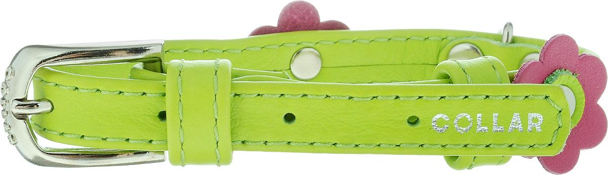 Ошейник для собак CoLLaR Glamour Аппликация, цвет: зеленый, розовый, ширина 1,2 см, обхват шеи 21-29 см35005Ошейник CoLLaR Glamour Аппликация изготовлен из кожи, устойчивой к влажности и перепадам температур. Клеевой слой, сверхпрочные нити, крепкие металлические элементы делают ошейник надежным и долговечным. Изделие отличается высоким качеством, удобством и универсальностью. Размер ошейника регулируется при помощи металлической пряжки. Имеется металлическое кольцо для крепления поводка. Ваша собака тоже хочет выглядеть стильно! Модный ошейник с аппликацией в виде цветов станет для питомца отличным украшением и выделит его среди остальных животных. Минимальный обхват шеи: 21 см. Максимальный обхват шеи: 29 см. Ширина: 1,2 см.
