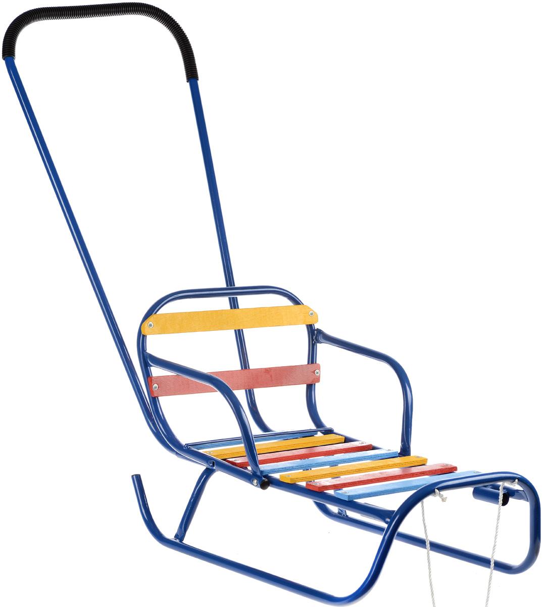 Санки-трансформер, со съемным толкателем и спинкой, цвет: синий. З-1145.08, Тульские санки