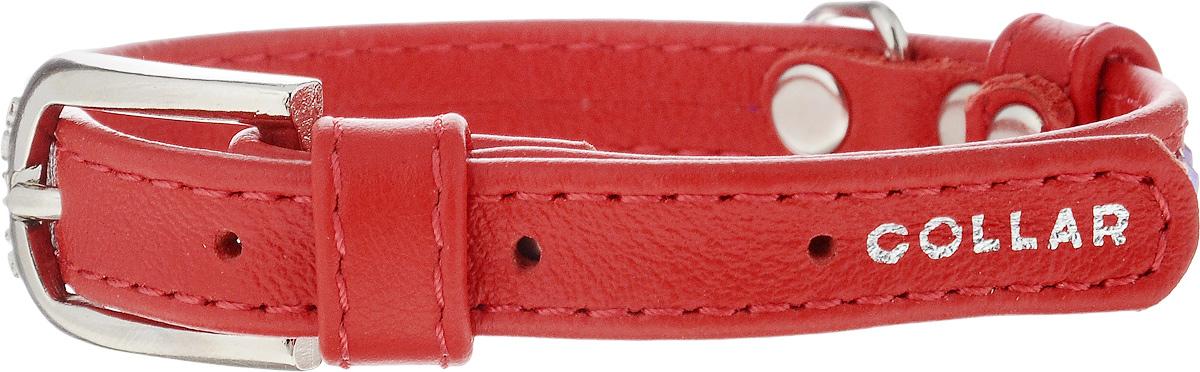 Ошейник для собак CoLLaR Glamour, цвет: красный, ширина 1,2 см, обхват шеи 21-29 см32683Ошейник CoLLaR Glamour изготовлен из кожи, устойчивой к влажности и перепадам температур. Клеевой слой, сверхпрочные нити, крепкие металлические элементы делают ошейник надежным и долговечным. Изделие отличается высоким качеством, удобством и универсальностью. Размер ошейника регулируется при помощи металлической пряжки. Имеется металлическое кольцо для крепления поводка. Ваша собака тоже хочет выглядеть стильно! Модный ошейник, декорированный стразами, станет для питомца отличным украшением и выделит его среди остальных животных. Минимальный обхват шеи: 21 см. Максимальный обхват шеи: 29 см. Ширина: 1,2 см.