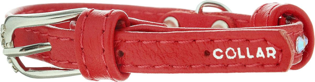 Ошейник для собак CoLLaR Glamour, цвет: красный, ширина 9 мм, обхват шеи 19-25 см32523Ошейник CoLLaR Glamour изготовлен из кожи, устойчивой к влажности и перепадам температур. Клеевой слой, сверхпрочные нити, крепкие металлические элементы делают ошейник надежным и долговечным. Изделие отличается высоким качеством, удобством и универсальностью. Размер ошейника регулируется при помощи металлической пряжки. Имеется металлическое кольцо для крепления поводка. Ваша собака тоже хочет выглядеть стильно! Модный ошейник, декорированный стразами, станет для питомца отличным украшением и выделит его среди остальных животных. Минимальный обхват шеи: 19 см. Максимальный обхват шеи: 25 см. Ширина: 0,9 см.