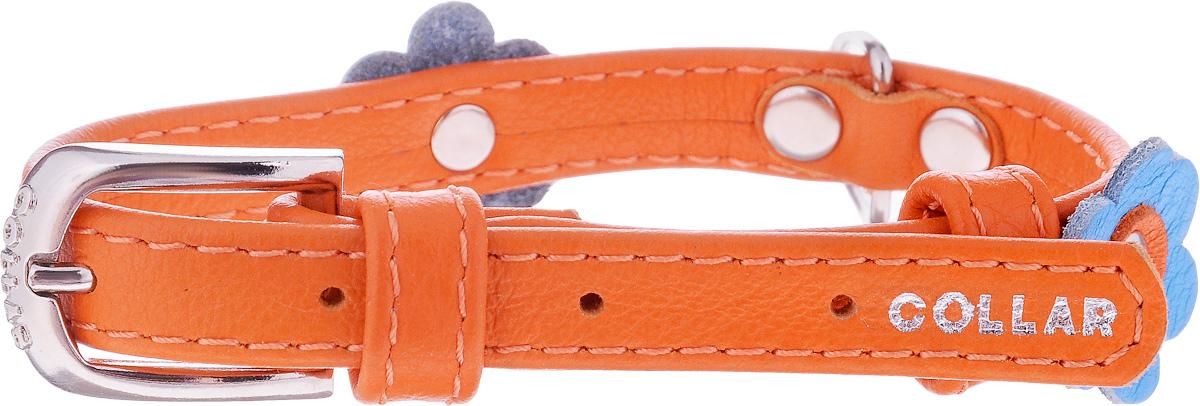 Ошейник для собак CoLLaR Glamour Аппликация, цвет: оранжевый, синий, ширина 1,2 см, обхват шеи 21-29 см35004Ошейник CoLLaR Glamour Аппликация изготовлен из кожи, устойчивой к влажности и перепадам температур. Клеевой слой, сверхпрочные нити, крепкие металлические элементы делают ошейник надежным и долговечным. Изделие отличается высоким качеством, удобством и универсальностью. Размер ошейника регулируется при помощи металлической пряжки. Имеется металлическое кольцо для крепления поводка. Ваша собака тоже хочет выглядеть стильно! Модный ошейник с аппликацией в виде цветов станет для питомца отличным украшением и выделит его среди остальных животных. Минимальный обхват шеи: 21 см. Максимальный обхват шеи: 29 см. Ширина: 1,2 см.