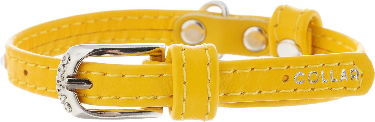 Ошейник для собак CoLLaR Glamour, цвет: желтый, ширина 9 мм, обхват шеи 19-25 см32528Ошейник CoLLaR Glamour изготовлен из кожи, устойчивой к влажности и перепадам температур. Клеевой слой, сверхпрочные нити, крепкие металлические элементы делают ошейник надежным и долговечным. Изделие отличается высоким качеством, удобством и универсальностью. Размер ошейника регулируется при помощи металлической пряжки. Имеется металлическое кольцо для крепления поводка. Ваша собака тоже хочет выглядеть стильно! Модный ошейник, декорированный стразами, станет для питомца отличным украшением и выделит его среди остальных животных. Минимальный обхват шеи: 19 см. Максимальный обхват шеи: 25 см. Ширина: 0,9 см.