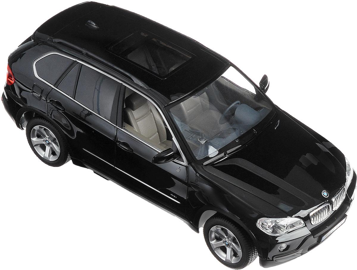 Rastar Радиоуправляемая модель BMW X5 цвет черный масштаб 1:1423200-1-RASTARРадиоуправляемая модель Rastar BMW X5 обязательно привлечет внимание взрослого и ребенка и понравится любому, кто увлекается автомобилями. Маневренная и реалистичная уменьшенная копия выполнена в точной детализации с настоящим автомобилем в масштабе 1:14. Управление машинкой происходит с помощью пульта. Машина двигается вперед и назад, поворачивает направо, налево и останавливается. Имеются световые эффекты (загораются фары и стоп-сигналы). Колеса игрушки обеспечивают плавный ход, машинка не портит напольное покрытие. Радиоуправляемые игрушки способствуют развитию координации движений, моторики и ловкости. Ваш ребенок часами будет играть с моделью, придумывая различные истории и устраивая соревнования. Порадуйте его таким замечательным подарком! Машина работает от 5 батареек напряжением 1,5V типа АА (не входят в комплект). Пульт работает от батарейки 9V типа Крона (не входит в комплект).
