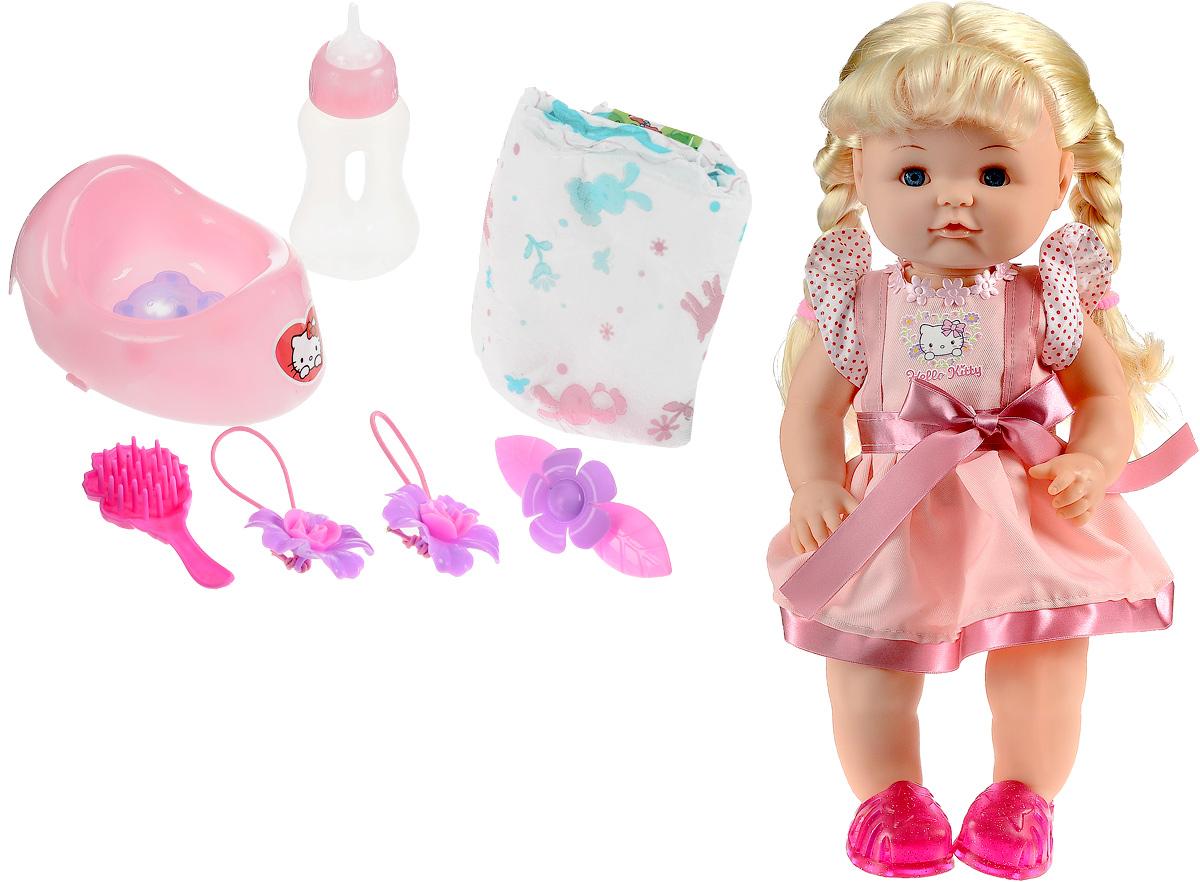 Карапуз Пупс Hello Kitty в розовом платьеY40G-DP-RU-HKПупс Карапуз Hello Kitty представляет собой игрушку в виде маленькой годовалой девочки с косичками, которая очень похожа на настоящего ребенка. В наборе имеются аксессуары по уходу за игрушечной малышкой: горшок, бутылочка и подгузник. Девочке понравится данный набор. Теперь ребенок может воображать себя заботливой мамой и ухаживать за своей дочкой - поить ее из бутылочки, сажать на горшочек, менять подгузник. Куклу также можно купать и расчесывать. В набор входят расческа, две резинки для волос и заколка.