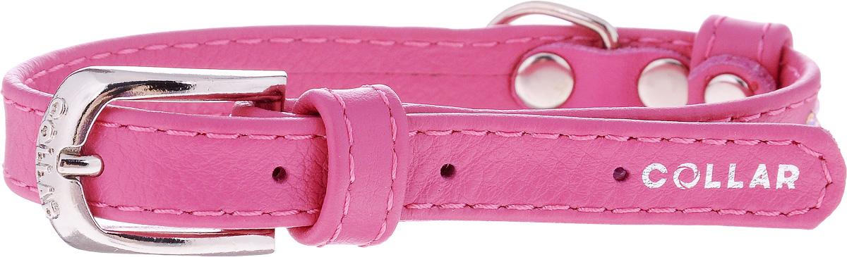Ошейник для собак CoLLaR Glamour, цвет: розовый, ширина 1,2 см, обхват шеи 21-29 см32687Ошейник CoLLaR Glamour изготовлен из кожи, устойчивой к влажности и перепадам температур. Клеевой слой, сверхпрочные нити, крепкие металлические элементы делают ошейник надежным и долговечным. Изделие отличается высоким качеством, удобством и универсальностью. Размер ошейника регулируется при помощи металлической пряжки. Имеется металлическое кольцо для крепления поводка. Ваша собака тоже хочет выглядеть стильно! Модный ошейник, декорированный стразами, станет для питомца отличным украшением и выделит его среди остальных животных. Минимальный обхват шеи: 21 см. Максимальный обхват шеи: 29 см. Ширина: 1,2 см.