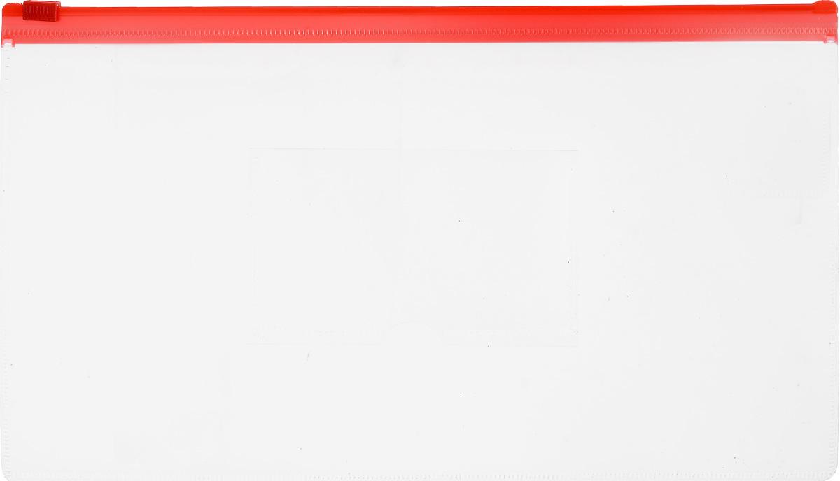 Бюрократ Папка-конверт на молнии с карманом под визитку цвет красный прозрачный915255_прозрачный/красныйКомпактная папка-конверт Бюрократ - это удобный и практичный офисный инструмент, предназначенный для хранения и транспортировки рабочих бумаг и документов формата А6. Папка изготовлена из прозрачного пластика, закрывается на пластиковую застежку-молнию, имеет опрятный и неброский вид. На внешней поверхности папки расположен кармашек для визитки. Папка-конверт - это незаменимый атрибут для студента, школьника или офисного работника. Такая папка надежно сохранит ваши документы и сбережет их от повреждений, пыли и влаги.