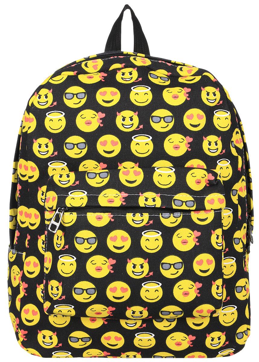 Рюкзак Kawaii Factory Smile, цвет: черный, желтый. KW102-000231KW102-000231Оригинальный рюкзак Smile от Kawaii Factory - идеальное сочетание креативного дизайнерского подхода и простоты исполнения. Модный рюкзак со смайлами, удобный и функциональный, сшит из прочного материала. В нем есть все, что нужно - одно основное отделение, закрывающееся на застежку-молнию, один внутренний накладной карман, а также карман на молнии на передней части рюкзака. Благодаря отличной эргономичности прогулочный рюкзак будет практически невесомым на вашей спине. Простой, но в то же время стильный - он определенно выделит своего обладателя из толпы и непременно поднимет настроение. А яркий современный дизайн, который является основной фишкой данной модели, будет радовать глаз. Данный рюкзак можно носить как на учебу, так и на прогулки.