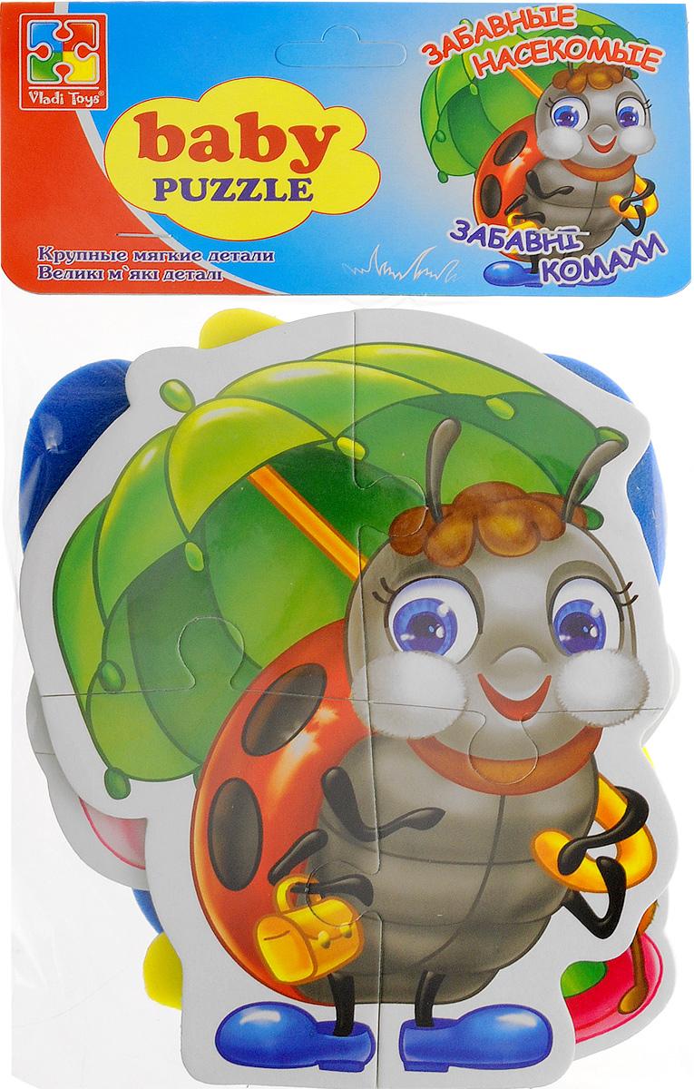 Vladi Toys Пазл для малышей Забавные насекомые 4 в 1VT1106-06Пазл для малышей Vladi Toys Забавные насекомые придется по душе вашему малышу. Набор включает в себя 4 пазла. Первый пазл состоит из 3 элементов, второй пазл - из 4 элементов, третий пазл - из 4 элементов и четвертый пазл - из 5 элементов. Собрав 4 пазла, вы получите картинки с изображением очаровательных насекомых - осы, божьей коровки, муравья и бабочки. Пазл - великолепная игра для семейного досуга. Сегодня собирание пазлов стало особенно популярным, главным образом, благодаря своей многообразной тематике, способной удовлетворить самый взыскательный вкус. Для детей это не только интересно, но и полезно. Пазл научит ребенка усидчивости, умению доводить начатое дело до конца, поможет развить внимание, память, образное и логическое мышления, сенсорно-моторную координацию движения рук. В дальнейшем хорошая координация движений рук поможет ребенку легко овладеть письмом.