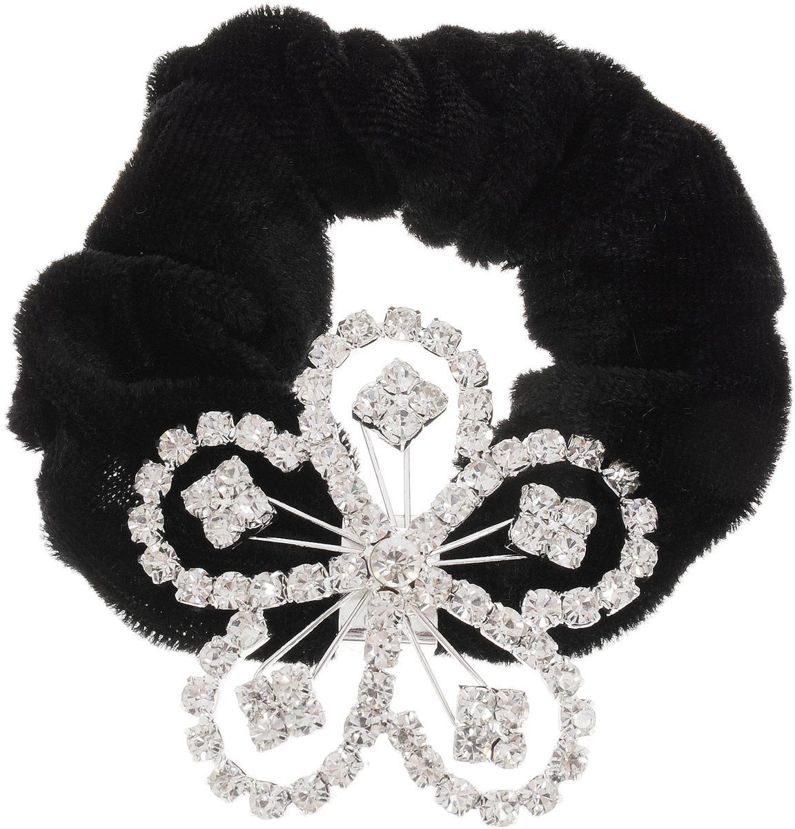 Резинка для волос Fashion House, цвет: серебристый, черный. FH33178FH33178Резинка для волос Fashion House изготовлена из текстиля и дополнена металлическим декоративным элементом, выполненным в виде цветка, оформленного стразами. Изделие надежно зафиксирует волосы и завершит образ.