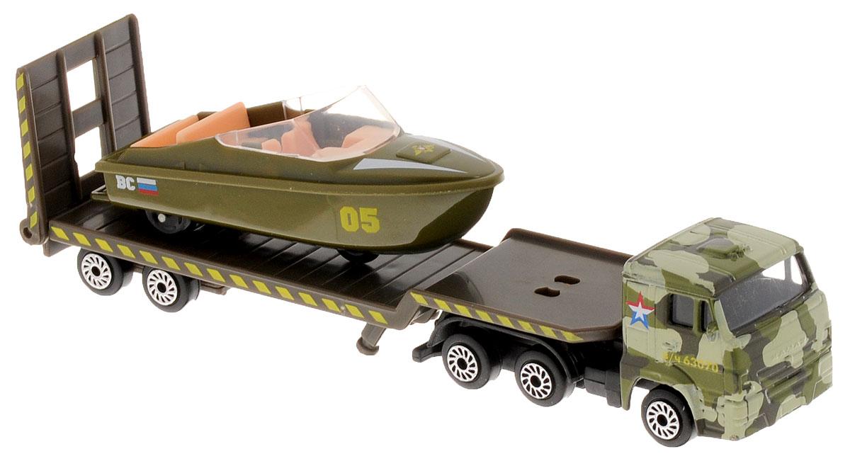 ТехноПарк Набор машинок Транспортер военный КамАЗ с лодкой 2 штSB-16-30-MВоенный автотранспортер с лодкой ТехноПарк станет отличным подарком для мальчика. Кабина грузовика и корпус лодки выполнены из металла, прицеп и внутренняя отделка лодки - из пластика. В днище лодки имеются колесики, поэтому лодку можно катать, как обычную машинку. Прицеп отсоединяется, пандус опускается. Сделайте вашему ребенку такой великолепный подарок!