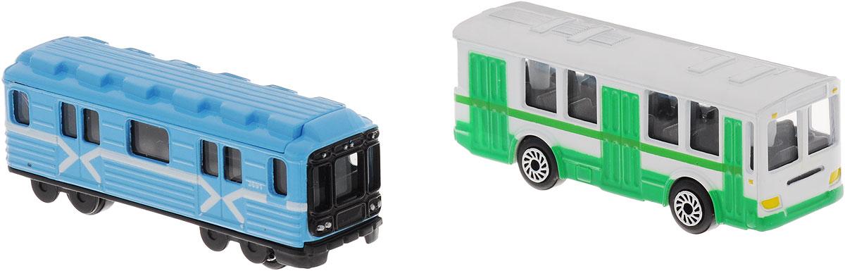 ТехноПарк Набор машинок Вагон метро и троллейбус 2 штSB-15-06-BLС (144)Набор машинок ТехноПарк Вагон метро и троллейбус обязательно понравится вашему ребенку! В наборе вагон метро в традиционной раскраске и троллейбус. Корпусы машинок выполнены из металла с пластиковыми элементами. Колеса машинок свободно вращаются. Ваш ребенок будет часами играть с этими машинками, придумывая различные истории. Порадуйте его таким замечательным подарком!