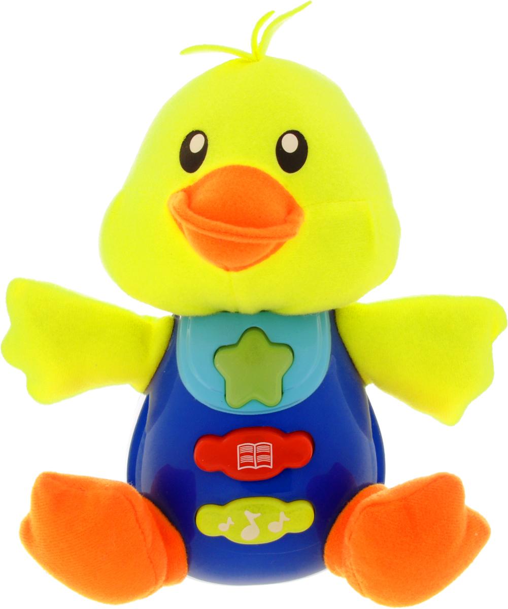 Умка Обучающая игрушка Уточка0635-07-1Обучающая игрушка Умка Уточка - это уникальная игрушка со световыми и звуковыми эффектами, сочетающая в себе увлекательное обучение и настоящее веселье. Игрушка выполнена из пластика ярких цветов и мягкого текстиля в виде симпатичного утенка. На животике уточки имеются три кнопочки, которые позволят прослушать стихи А. Барто, веселую песенку и различные мелодии. Игрушка может воспроизводить 5 разных стихотворений, 4 мелодии и одну песенку. Обучающая игрушка Умка Музыкальный горшочек способствует развитию у малыша звукового и цветового восприятия, тактильных ощущений, мелкой моторики рук и координации движений, а также знакомит с понятием формы предмета. Для работы требуются 2 батарейки типа АА (комплектуется демонстрационными).