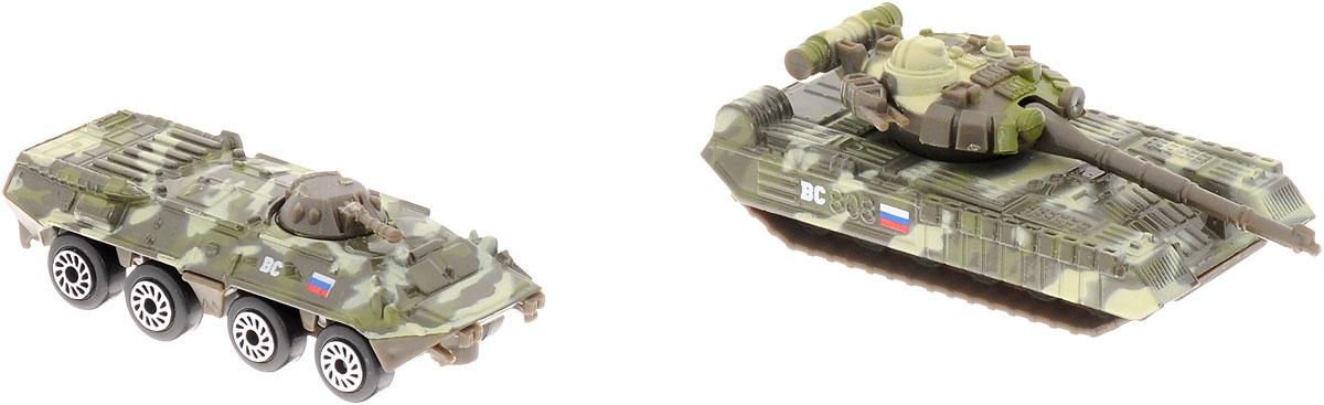 ТехноПарк Набор машинок Военная техника 2 штSB-15-09-BLC (144)Набор машинок ТехноПарк Военная техника обязательно понравится вашему ребенку! В набор входит БТР и танк. Корпус БТРа и танка выполнен из металла с элементами из пластика. Колеса машинок свободно вращаются, башня танка поворачивается. Малыш будет часами играть с таким замечательным набором, придумывая разные истории и устраивая боевые действия. Сделайте ему такой великолепный подарок!