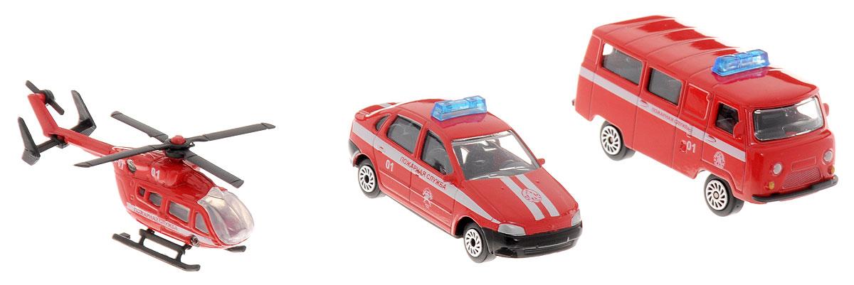 ТехноПарк Набор машинок Пожарный транспорт 3 штSB-14-11Набор машинок ТехноПарк Пожарный транспорт станет отличным подарком для мальчика. В набор входит: легковая машина, микроавтобус и вертолет. Машинки и вертолет выполнены из металла с пластиковыми элементами. Лопасти вертолета вращаются. Малыш будет часами играть с таким замечательным набором, придумывая разные истории. Сделайте вашему ребенку такой великолепный подарок!