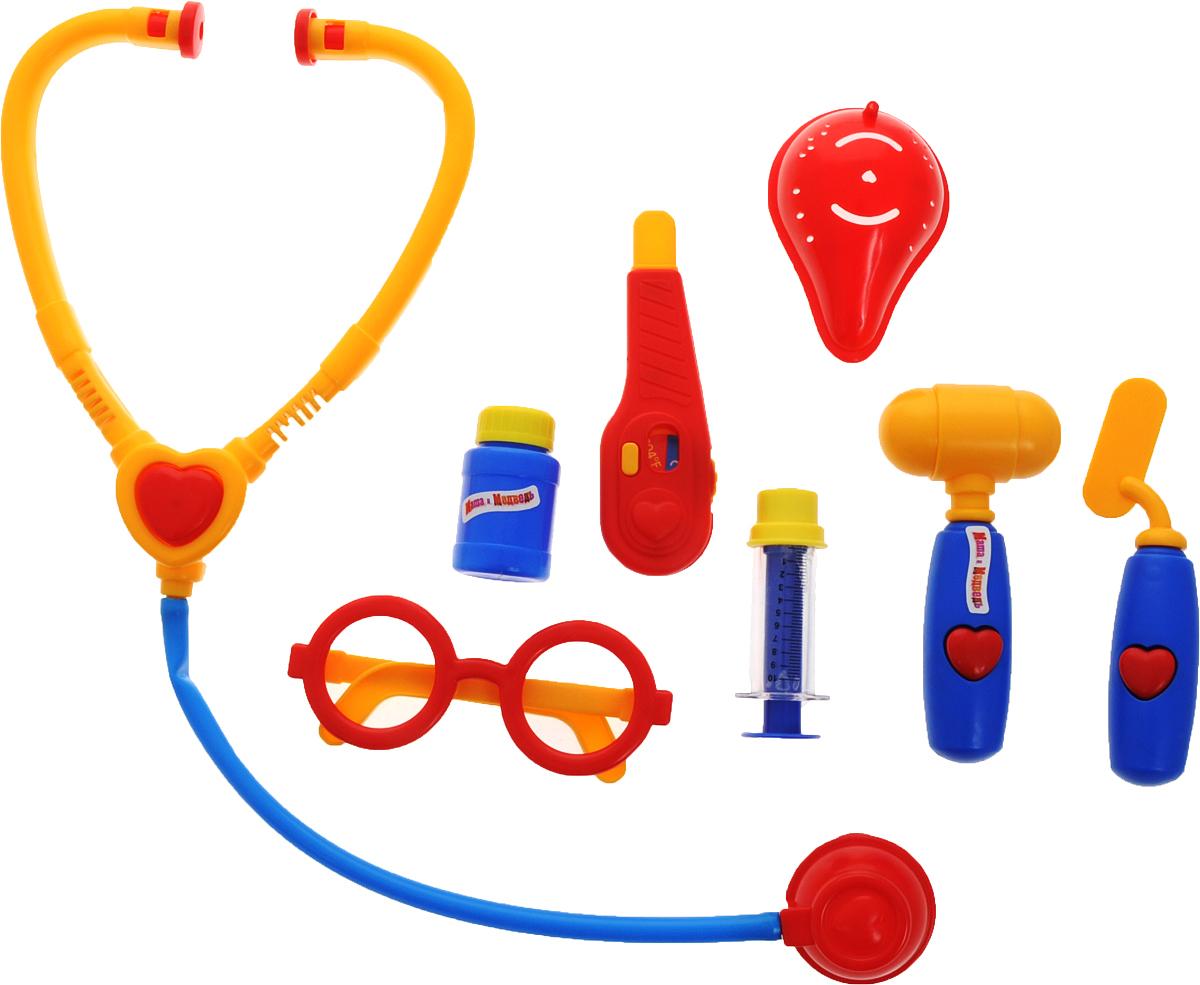 Играем вместе Игрушечный набор доктора Маша и Медведь 8 предметовMT1094INC-RЕсли плюшевые игрушки и куколки заболели и грустят, ваша малышка сможет им помочь, превратившись в заботливого доктора. Надев очки и взяв в руки стетоскоп, девочка будет выглядеть совсем как врач! Заболевшему мишке она измерит температуру, и даст витаминку. Игрушечный набор доктора Играем вместе Маша и Медведь полностью стилизован под известный мультфильм Маша и Медведь. Все элементы набора выполнены из безопасного для ребенка материала. Порадуйте своего ребенка таким замечательным подарком!