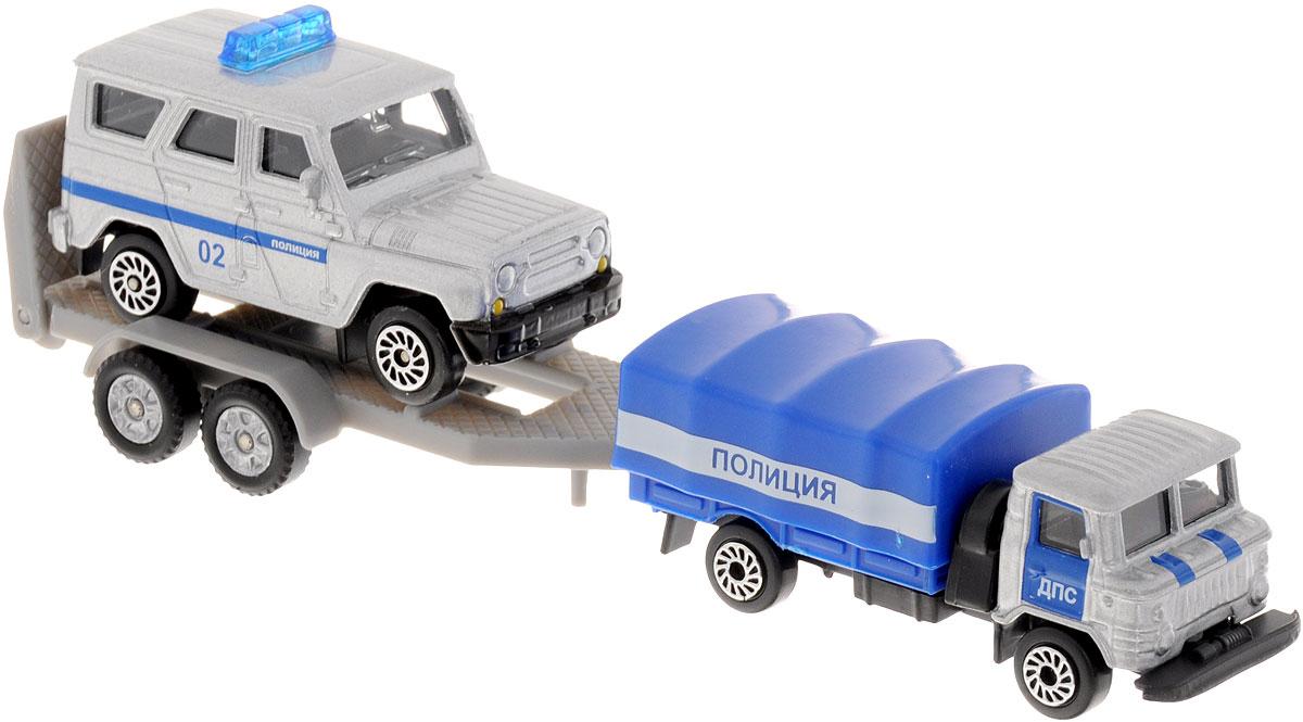 ТехноПарк Набор машинок Полиция с прицепом 2 штSB-15-46Набор ТехноПарк Полиция с прицепом, выполненный из пластика и металла, станет любимой игрушкой вашего малыша. Игрушка представляет собой модель полицейской грузовой машины с прицепом и полицейским джипом. Джип можно снимать с прицепа и играть с ним отдельно. Машинки обладают высокой степенью детализации. У грузовика снимается верх кузова, отсоединяется прицеп и откидывается трап. Ваш ребенок будет часами играть с этим набором, придумывая различные истории. Настоящая радость для ребенка, особенно если он неравнодушен к технике!