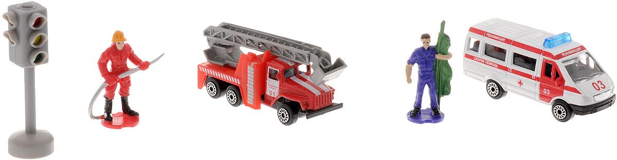 ТехноПарк Набор машинок Пожарная и скорая помощь с фигуркамиSB-15-41Набор ТехноПарк Пожарная и скорая помощь с фигурками, выполненный из пластика и металла, станет любимой игрушкой вашего малыша. Машинки выполнены с удивительной детализацией и вниманием к мельчайшим деталям. Кран у пожарной машины поднимается и выдвигается. Колеса машинок свободно вращаются. В наборе две машинки, две фигурки и светофор. Ваш ребенок будет часами играть с этим набором, придумывая различные истории. Настоящая радость для ребенка, особенно если он неравнодушен к технике!
