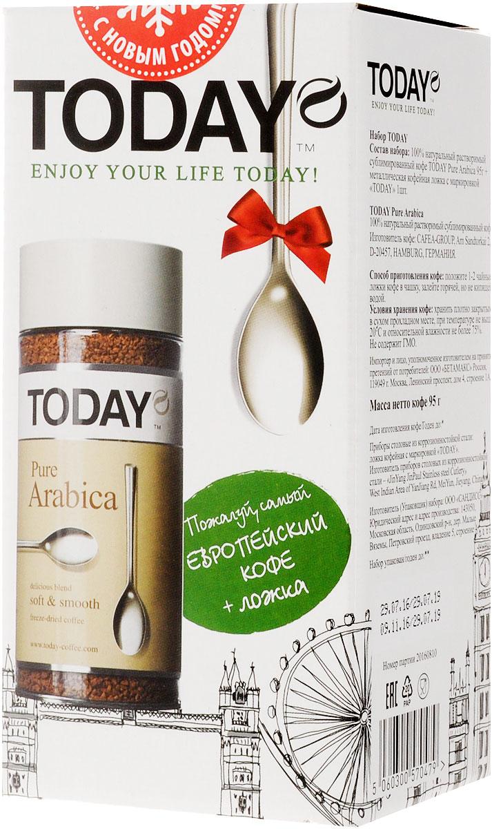 Today Pure Arabica подарочный кофейный набор с ложечкой5060300570479Подарочный набор Today Pure включает 100% натуральный растворимый сублимированный кофе Arabica (95 г) и металлическую кофейную ложку с маркировкой Today. Отборные зерна Колумбийской Арабики подарили этому кофе мягкий вкус, легкую смородиновую кислинку и тонкую нотку фруктового оттенка.
