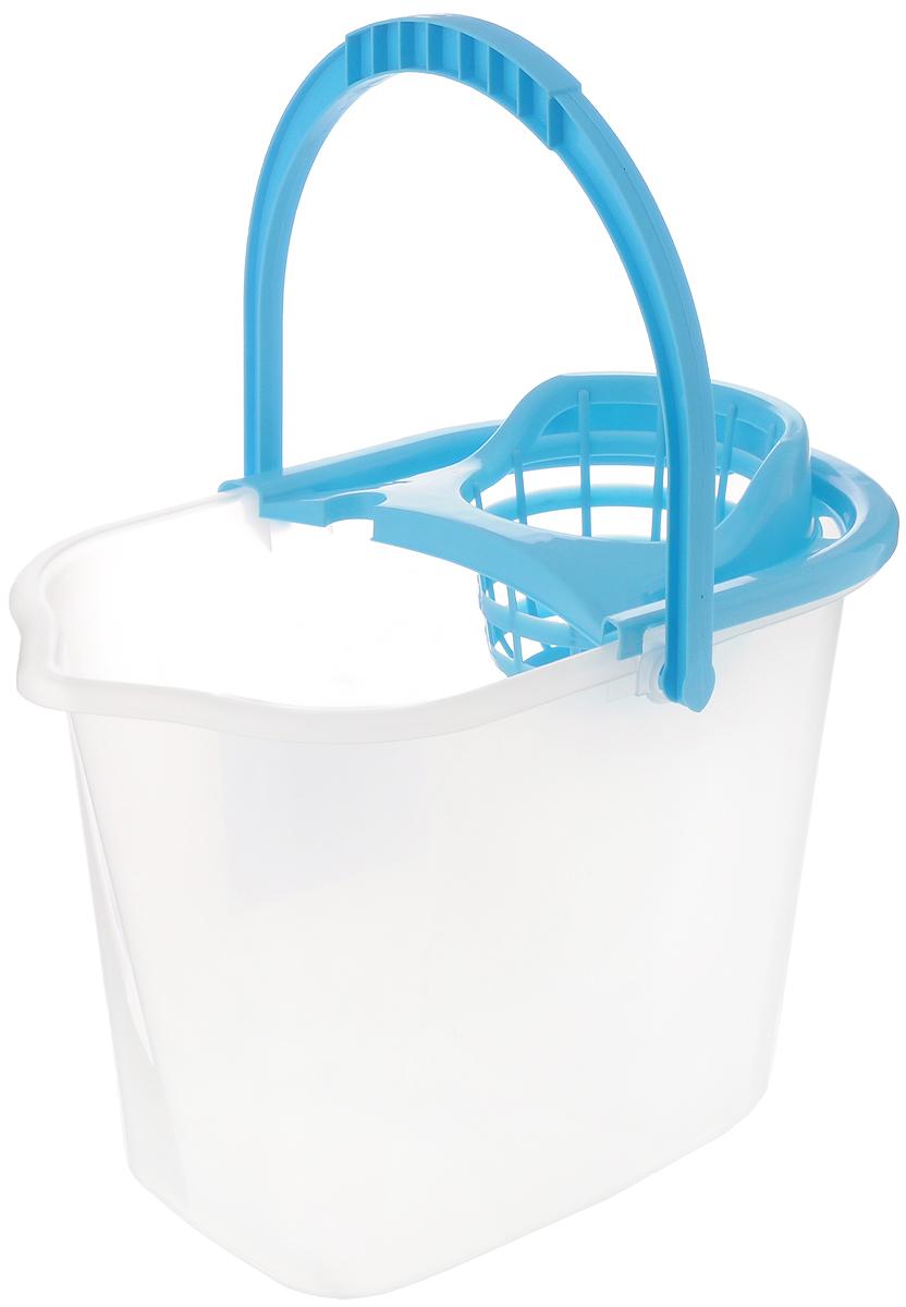 Ведро для уборки York, с насадкой для отжима швабры, цвет: прозрачный, голубой, 10 л7002_голубой, прозрачныйВедро York, изготовленное из полипропилена, порадует практичных хозяек. Изделие снабжено специальной насадкой, которая обеспечивает интенсивный отжим ленточных швабр. Это значительно уменьшает физические нагрузки при мытье полов. Насадка надежно крепится на ведро и также легко снимается, позволяя хранить ее отдельно. Для удобного использования ведро оснащено эргономичной ручкой. Размер ведра (по верхнему краю): 35 х 22 см. Высота: 24 см.