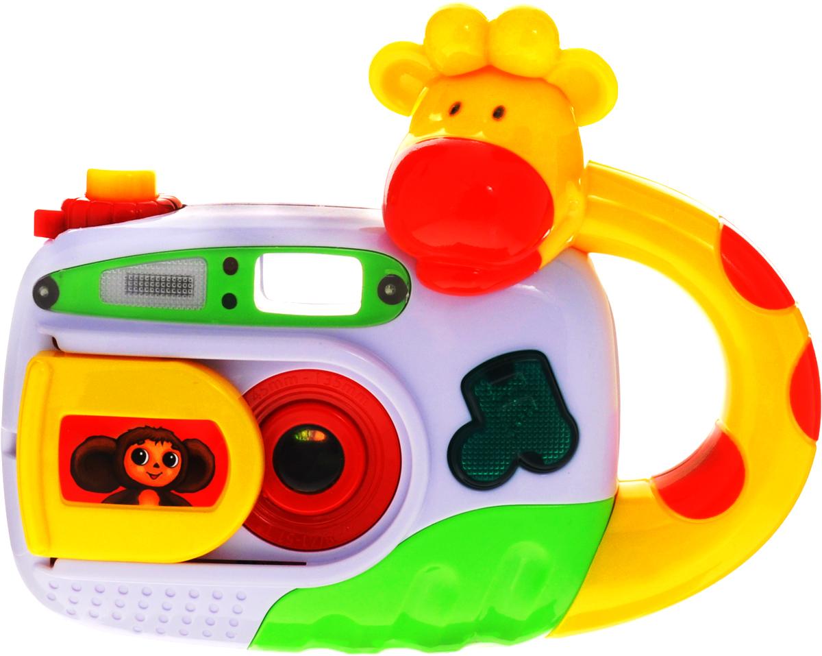 Умка Развивающая игрушка Фотоаппарат Чебурашки68052-RРазвивающая игрушка Умка Фотоаппарат Чебурашки обязательно придется по душе вашему малышу. В ней есть все элементы настоящего фотоаппарата: подвижный объектив, затвор, вспышка и даже возможность просмотра фотографий. Если нажать на кнопку фото, то появиться вспышка. Удобная форма, размер и подвижные элементы игрушки способствует развитию мелкой моторики, хватательного рефлекса и укреплению мышц рук. А песня из любимого мультфильма сделает игрушку еще более привлекательной для ребенка. Рекомендуется докупить 2 батарейки напряжением 1,5V типа АА (товар комплектуется демонстрационными).