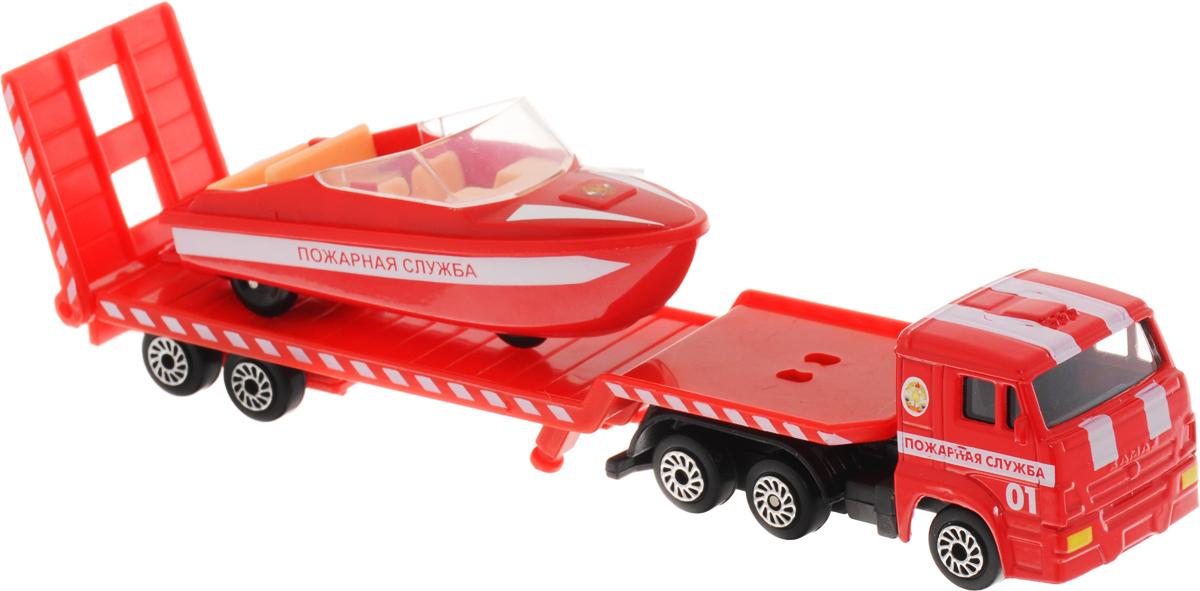 ТехноПарк Набор машинок Транспортер пожарный КамАЗ с лодкой 2 штSB-16-30-FПожарный автотранспортер с лодкой ТехноПарк станет отличным подарком для мальчика. Кабина грузовика и корпус лодки выполнены из металла, прицеп и внутренняя отделка лодки - из пластика. В днище лодки имеются колесики, поэтому лодку можно катать, как обычную машинку. Прицеп отсоединяется, пандус опускается. Сделайте вашему ребенку такой великолепный подарок!