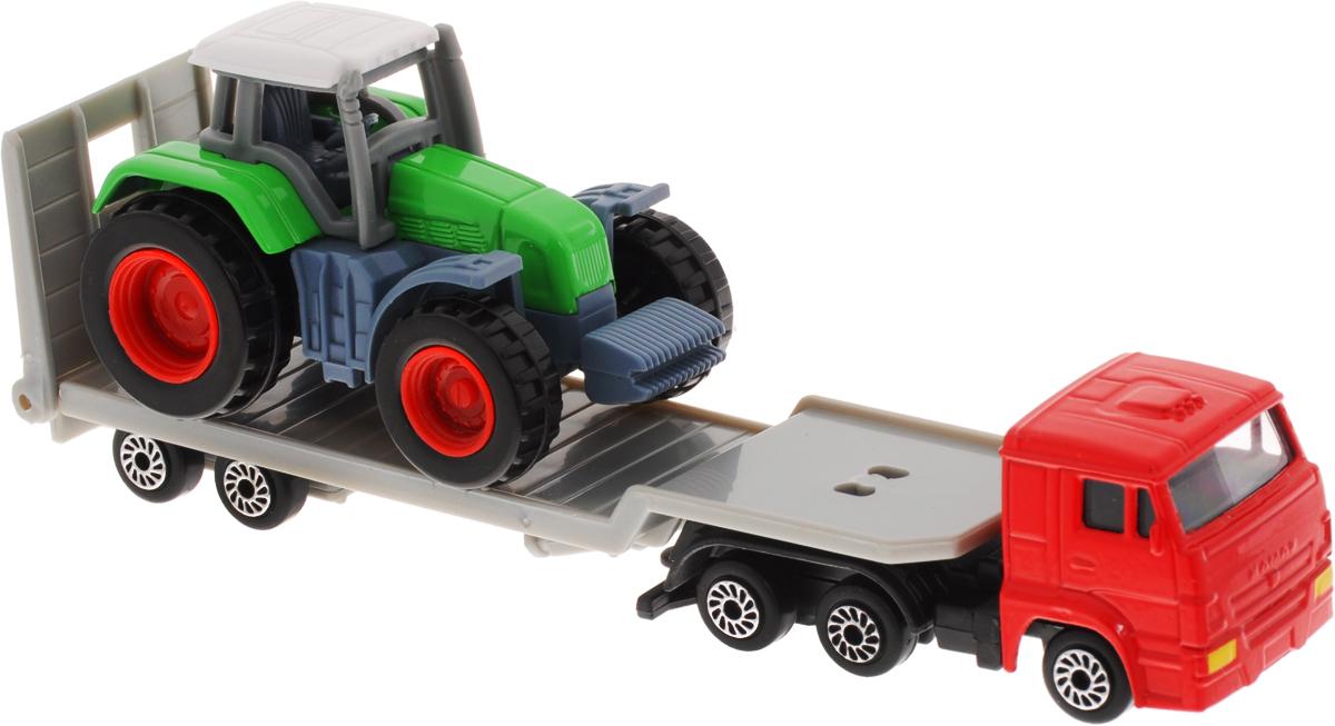 ТехноПарк Набор машинок Транспортер КамАЗ с трактором 2 штSB-16-36Автотранспортер КамАЗ с трактором ТехноПарк станет отличным подарком для мальчика. Кабина грузовика и корпус трактора выполнены из металла, прицеп и элементы трактора - из пластика. Колеса машинок свободно вращаются. Сделайте вашему ребенку такой великолепный подарок!
