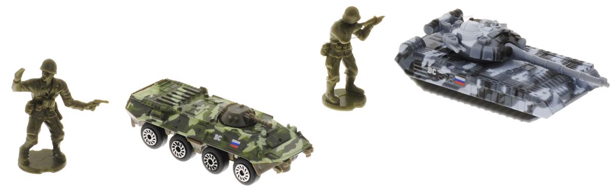 ТехноПарк Набор машинок Военная техника с 2 фигурками 2 штSB-15-54WBНабор машинок ТехноПарк Военная техника обязательно понравится вашему ребенку! В набор входит БТР, танк и две фигурки солдат. Корпус БТРа и танка выполнен из металла, фигурки солдат - из пластика. Колеса машинок свободно вращаются, башня танка поворачивается. Малыш будет часами играть с таким замечательным набором, придумывая разные истории и устраивая боевые действия. Сделайте ему такой великолепный подарок!