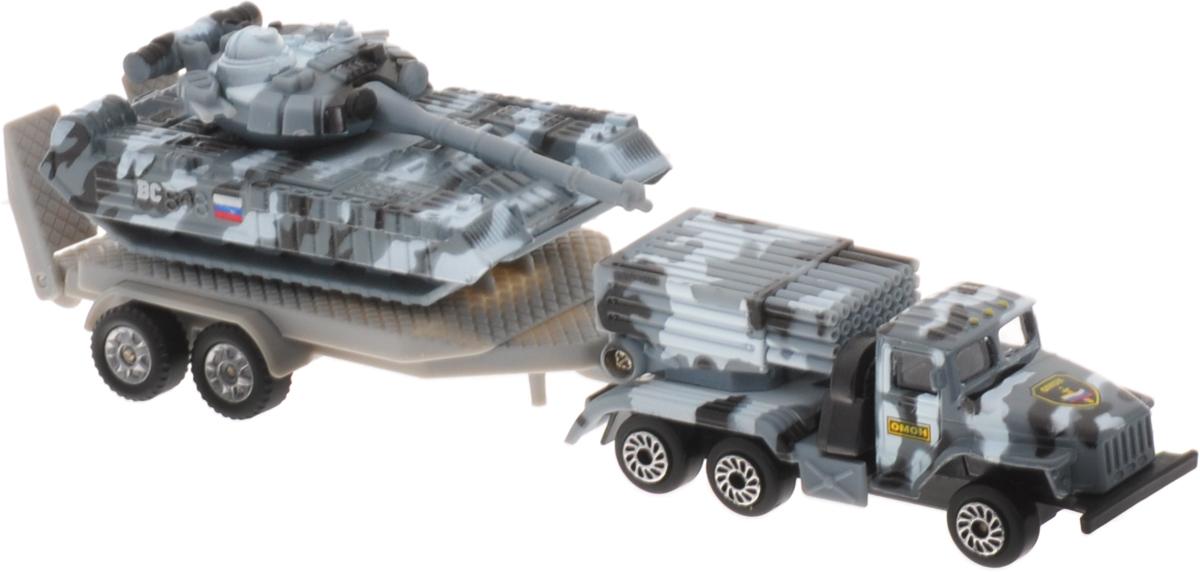 ТехноПарк Набор машинок Военная техника 2 шт SB-15-45SB-15-45Набор машинок ТехноПарк Военная техника станет любимой игрушкой вашего малыша. В набор входит грузовик с системой реактивного залпового огня, танк и прицеп. Танк можно транспортировать на прицепе или играть с ним отдельно. Ракетница грузовика и башня танка поворачиваются, ствол пушки и ракетница поднимаются. Ваш ребенок будет часами играть с этими машинками, придумывая различные истории. Порадуйте его таким замечательным подарком!