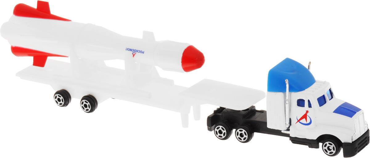 ТехноПарк Трейлер Космос с ракетой20121-RТрейлер ТехноПарк Космос с ракетой понравится каждому мальчику в возрасте от трех лет. Многие мальчики мечтают стать космонавтами. Данная игрушка - отличная возможность для родителей частично исполнить заветную мечту своего ребенка. Игрушка выполнена в виде грузовика с прицепом. На прицепе расположена ракета. Прицеп отсоединяется. Колеса машинки и прицепа свободно вращаются. Сделайте вашему ребенку такой замечательный подарок.
