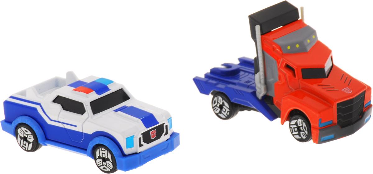 Dickie Toys Набор машинок Optimus Prime & Strongarm 2 шт3112000_красный/синий,белый/синийНабор машинок Dickie Toys  Optimus Prime & Strongarm выполнен по мотивам фантастической саги Transformers Robots in Disguise. С ним ребенок сможет придумать множество тематических постановок, в которых представители инопланетной расы замаскировались под видом обычных автомобилей, дабы не привлекать лишнего внимания. В набор входят 2 машинки. В коллекции представлены пять героев: Sideswipe, Bumblebee, Optimus Prime, Strongarm, Steeljaw. Колесные диски машин украшены логотипами Автоботов и Десептиконов.