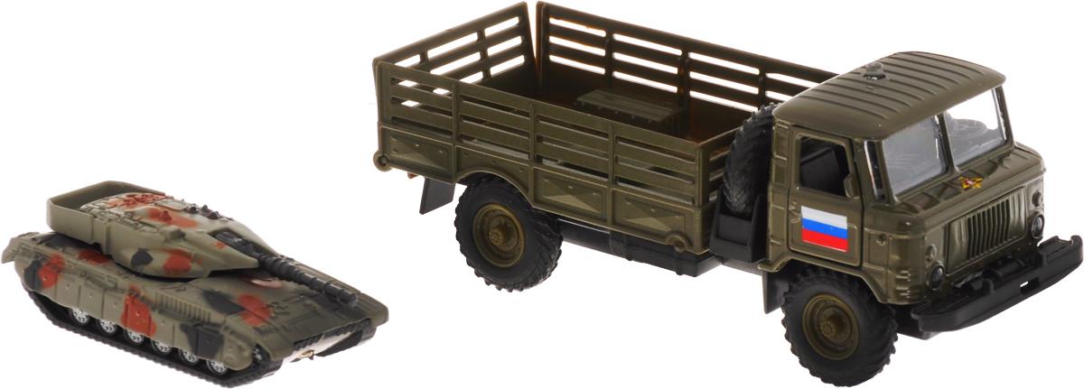 ТехноПарк Машинка инерционная ГАЗ-66 с танкомCT-1299WB (G1+J1)Инерционная машинка ТехноПарк Газ 66 с танком, выполненная из пластика и металла, станет любимой игрушкой вашего малыша. Игрушка представляет собой модель военного автомобиля Газ 66 в кузове которого поместился военный танк. Танк может заезжать в кузов по откидывающемуся трапу. Машинка обладает высокой реалистичностью за счет двигающихся элементов (открываются двери), а также звуковых и световых эффектов. Звуки и свет активируются нажатием кнопки, расположенной на кабине машины. Автомобиль снабжен инерционным механизмом, что позволяет ему ускоряться вперед. Прорезиненные колеса обеспечивают надежное сцепление с любой гладкой поверхностью. Ваш ребенок будет часами играть с этой машинкой, придумывая различные истории. Настоящая радость для ребенка, особенно если он неравнодушен к военной технике! Машинка работает от 3 батареек LR41 напряжением 1,5V (товар комплектуется демонстрационными).