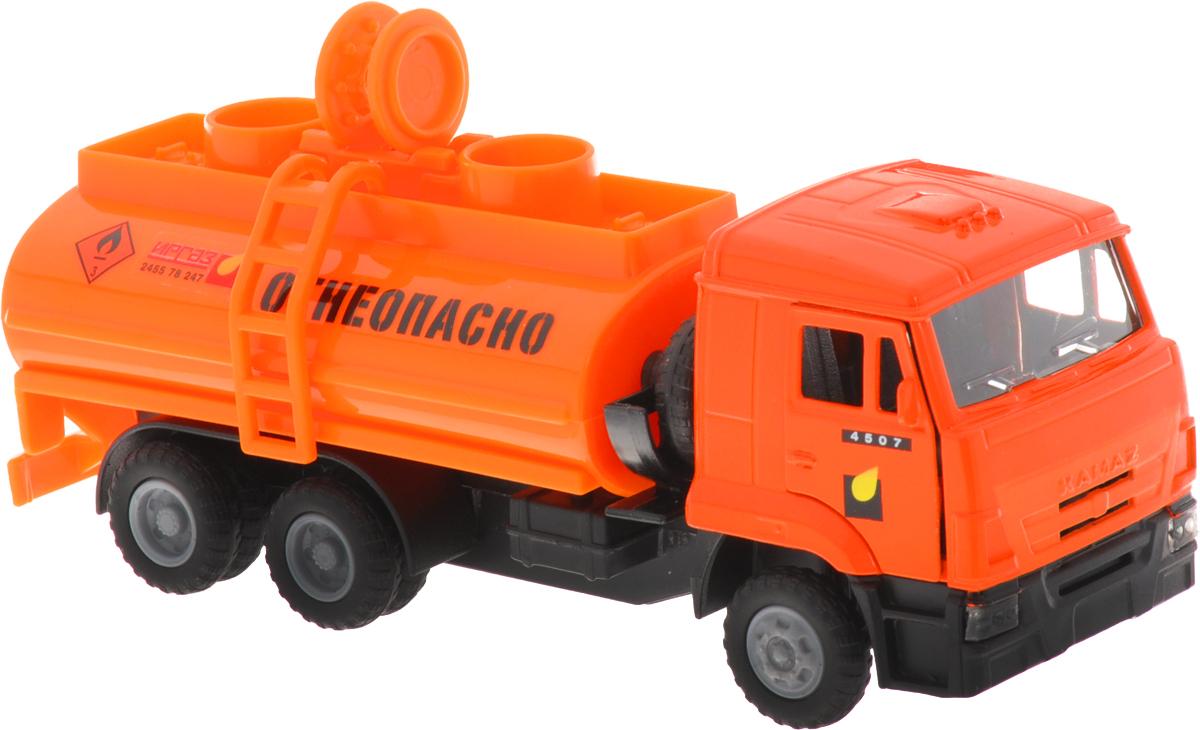 ТехноПарк Бензовоз инерционный КамАЗCT12-457-5WBИнерционный бензовоз ТехноПарк КамАЗ, выполненный из пластика и металла, станет любимой игрушкой вашего малыша. Машинка представляет собой модель автоцистерны КамАЗ, предназначенной для перевозки бензина. У машинки открываются двери и люки цистерны. Имеются световые и звуковые эффекты. Игрушка оснащена инерционным ходом. Машинку необходимо отвести назад, затем отпустить - и она быстро поедет вперед. Прорезиненные колеса обеспечивают надежное сцепление с любой гладкой поверхностью. Ваш ребенок будет часами играть с этой машинкой, придумывая различные истории. Порадуйте его таким замечательным подарком! Для работы игрушки необходимы 3 батарейки типа LR41 напряжением 1,5V (товар комплектуется демонстрационными).