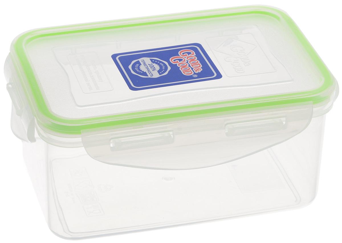 Контейнер пищевой Good&Good, цвет: прозрачный, салатовый, 800 мл2-2Н_прозрачный, салатовыйПрямоугольный контейнер Good&Good изготовлен из высококачественного полипропилена и предназначен для хранения любых пищевых продуктов. Благодаря особым технологиям изготовления, лотки в течении времени службы не меняют цвет и не пропитываются запахами. Крышка с силиконовой вставкой герметично защелкивается специальным механизмом. Контейнер Good&Good удобен для ежедневного использования в быту. Можно мыть в посудомоечной машине и использовать в микроволновой печи. Размер контейнера (с учетом крышки): 16,5 х 11 х 7,5 см.