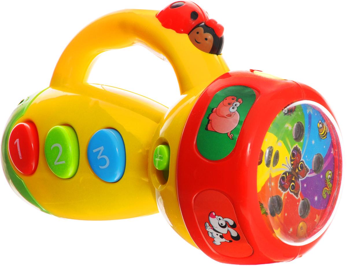 Умка Развивающая игрушка Музыкальный фонарик-проекторB1138542-RРазвивающая игрушка Умка Музыкальный фонарик-проектор подарит массу удивительных впечатлений ребенку. Игрушка оснащена звуковыми и световыми эффектами. Если начать крутить ролик на фонарике, то можно наблюдать за разными вариациями светового излучения. А кнопочки на игрушке служат переключателями забавных звуков зверей. Имеется кнопка регулировки громкости. Дизайн фонарика выполнен в ярких красочных цветах, что, несомненно, вызовет восторг у малыша. Игрушка станет увлекательным и занимательным подарком для детей. В игрушку включены 8 стихотворений М. Дружининой и 3 песни из любимых мультфильмов (В. Шаинского). Игрушка развивает зрение, память, внимание, цветовосприятие, мелкую моторику и слух. Рекомендуется докупить 2 батарейки напряжением 1,5V типа АА (товар комплектуется демонстрационными).