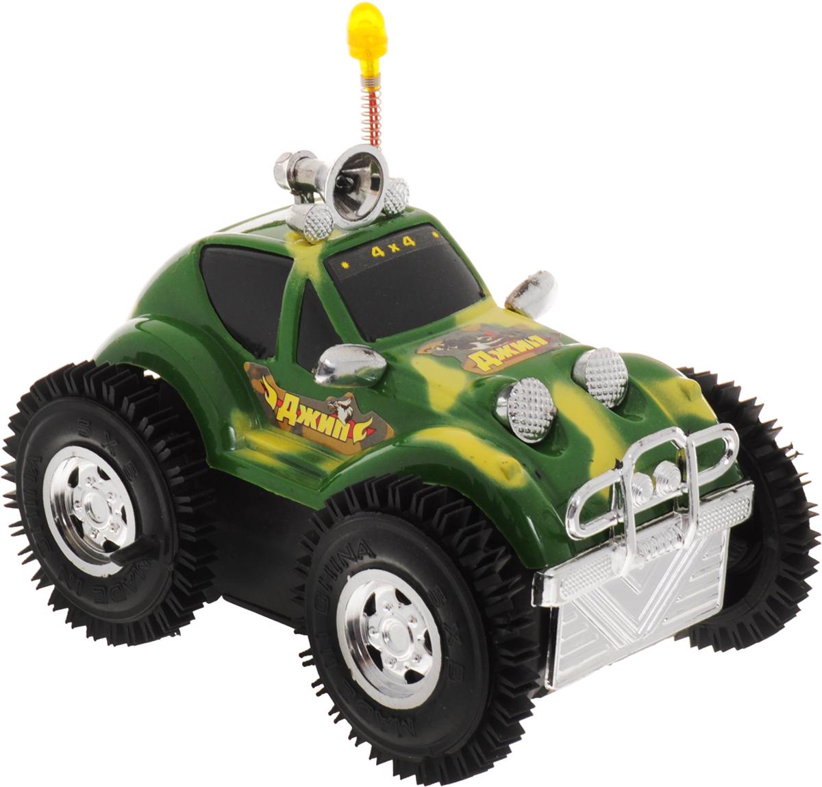 Играем вместе Джип-перевертыш цвет зеленыйA033-TC-NPДжип-перевертыш Играем вместе станет основой для интересных сюжетных игр: кроха может представлять себя в роли лихого гонщика, колесящего по бездорожью в поисках приключений. Особенностью машинки является ее способность при переворачивании возвращаться на колеса и продолжать свой путь. А световые эффекты игрушки добавят игре реалистичности и поднимут настроение. Таким образом, дети учатся сами создавать ситуации и обстоятельства для игры, развивая при этом фантазию и образное мышление. Для работы игрушки необходимы 2 батарейки типа АА напряжением 1,5V (не входят в комплект).