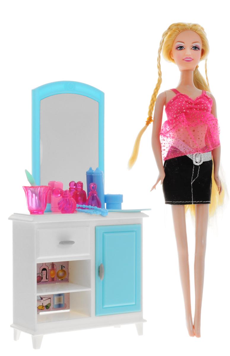 1TOY Туалетный столик с куклой КрасоткаТ54490Мебель для кукол 1TOY Туалетный столик - это очень практичный предмет мебели для куклы Красотки, который обязательно понравится вашей малышке. Симпатичный столик с большим безопасным зеркалом просто незаменим для любой кукольной комнаты. У столика несколько полочек и шкафчик с открывающейся дверью. На этом столике поместятся все кукольные аксессуары для наведения красоты! Куколка Красотка имеется в комплекте со столиком. На куколке очаровательный розовый топ и черная юбочка с серебристым поясом. У куклы длинные светлые волосы, которые так интересно заплетать и укладывать в разнообразные прически. Очаровательная кукла Красотка будет любоваться собой, подправлять макияж и причёску перед удобным туалетным столиком с зеркалом. Порадуйте свою дочурку таким замечательным подарком!