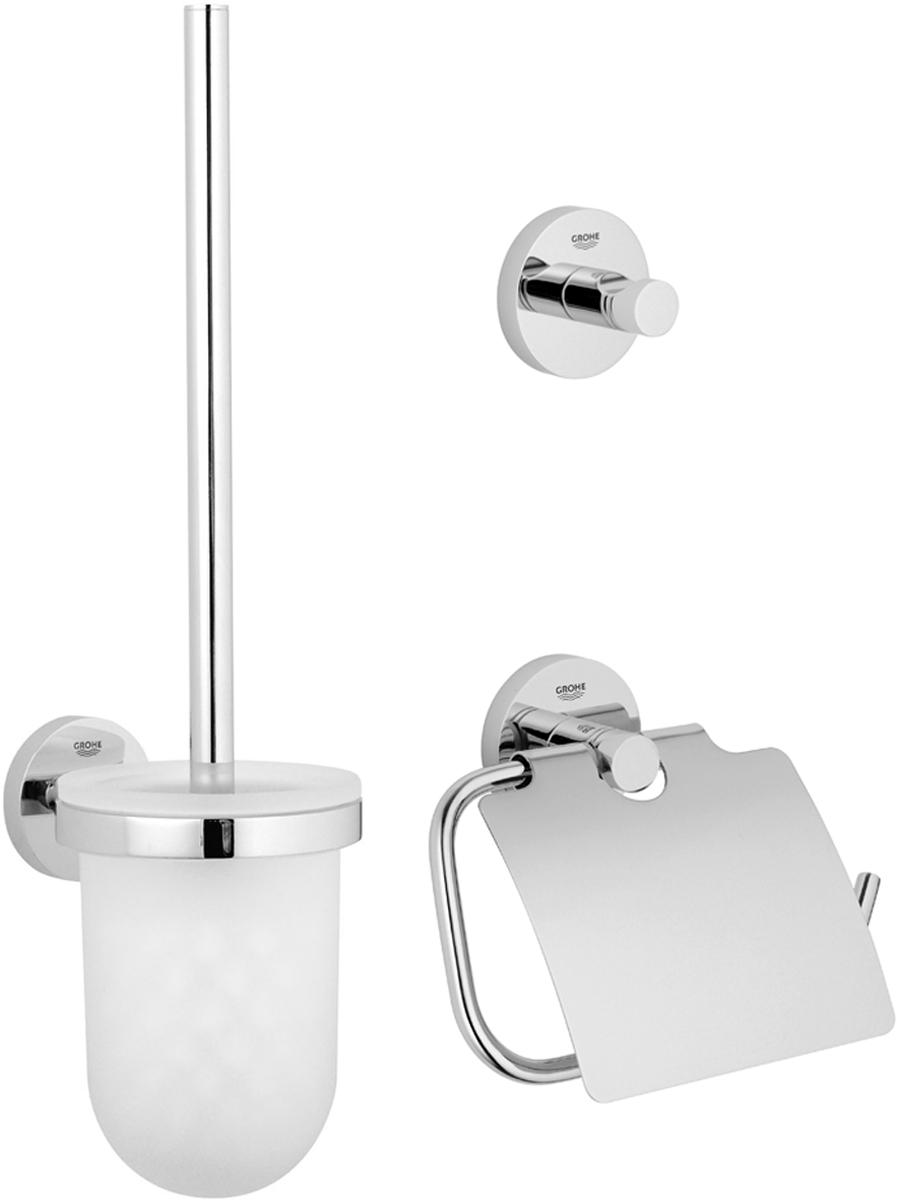 Набор аксессуаров для ванной комнаты Grohe Essentials, 3 предмета40407001Комплект аксессуаров Grohe Essentials, состоящий из крючка для банного халата, держателя для туалетной бумаги и комплекта с туалетным ершиком, представляет собой идеальный выбор для оснащения ванной комнаты. Изделия изготовлены из высококачественного металла и стекла. Все предметы разработаны в едином стиле и сочетают в себе универсальный дизайн, изысканные технологии изготовления и первоклассное качество. В комплект входит набор креплений для аксессуаров. Размер комплекта с туалетным ершиком: 40 х 12 х 9,5 см. Размер крючка для банного халата: 5,5 х 5,5 х 4,5 см. Размер держателя для туалетной бумаги: 17 х 4,5 х 12 см.