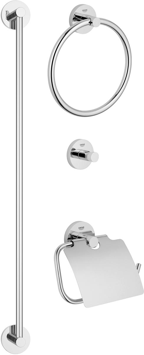 Набор аксессуаров для ванной комнаты Grohe Essentials, 4 предмета40776001Комплект аксессуаров Grohe Essentials, состоящий из крючка для банного халата, кольца для полотенца, держателя для туалетной бумаги и держателя для банного полотенца, представляет собой идеальный выбор для оснащения ванной комнаты. Изделия изготовлены из высококачественного металла и стекла. Все предметы разработаны в едином стиле и сочетают в себе универсальный дизайн, изысканные технологии изготовления и первоклассное качество. В комплект входит набор креплений для аксессуаров. Размер держателя для банного полотенца: 65 х 6 х 5,5 см. Размер крючка для банного халата: 5,5 х 5,5 х 4,5 см. Размер держателя для туалетной бумаги: 17 х 4,5 х 12 см. Размер кольца для банного халата: 20 х 4,5 х 18 см.